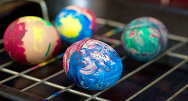 brightly eggs painted by children
